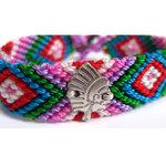 Bracelet Brésilien N°14 avec tête d'indien en argent et liens coton vert/rose/bleu/rouge par L by l'avare pour Comptoir des Filles