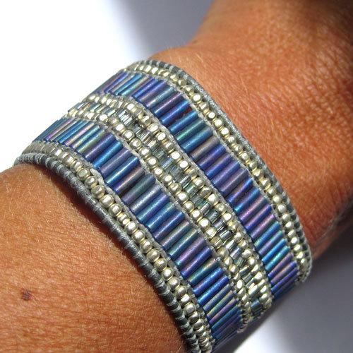 bracelet manchette femme ado cuir et perles nakamol solde 30 eur au lieu de 48 eur. Black Bedroom Furniture Sets. Home Design Ideas