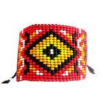 Bracelet Manchette N°2 Perles Jaunes & Rouges par L by l'avare pour Comptoir des Filles
