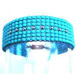 Bracelet Large Toho Turquoise en Perles du Japon et Argent par by l'avare pour Comptoir des Filles