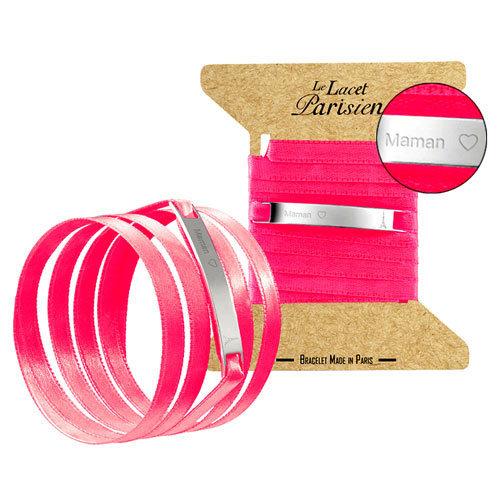 bracelet le lacet parisien sur satin et plaque acier le lacet parisien 19 euros comptoir. Black Bedroom Furniture Sets. Home Design Ideas