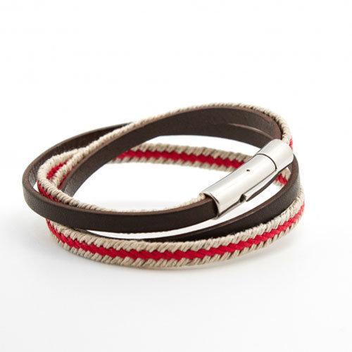 nouveaute bracelet homme fantaisie le marin en acier corde et cuir petits tr sors 42 eur. Black Bedroom Furniture Sets. Home Design Ideas