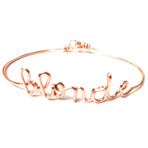 Bracelet jonc or rose fil