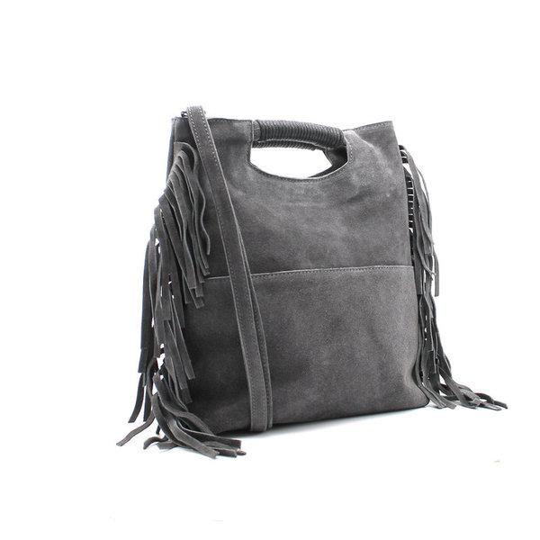 9f116dd149 ... sac franges poignée incrustée - gris - CpourL ...