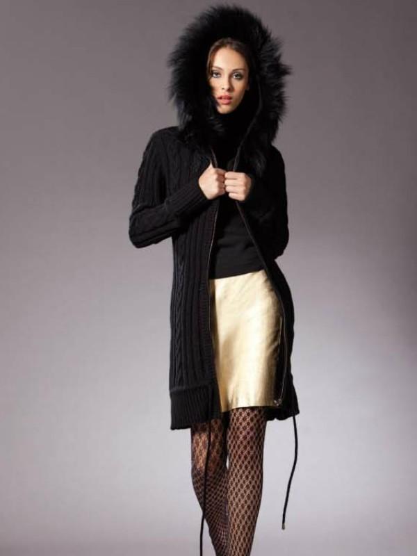 Gilet long noir a capuche femme