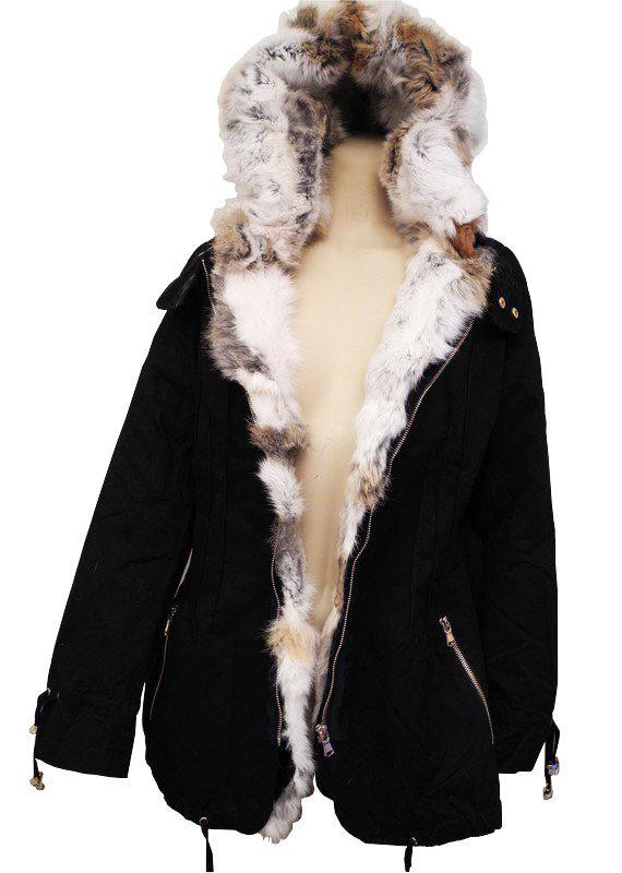 Manteau femme capuche vrai fourrure for Veste noir interieur ecossais