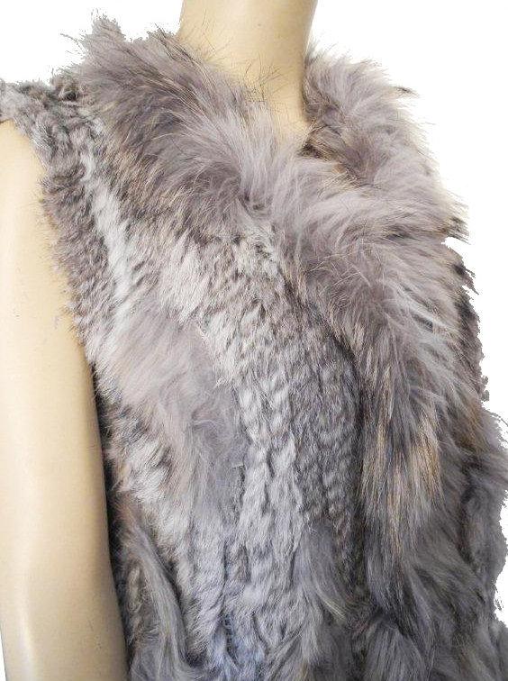 Veste en fourrure femme grise