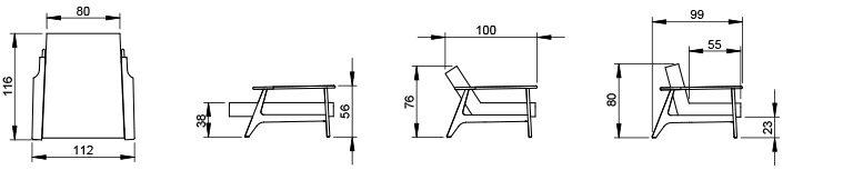 fauteuil splitback frej dimensions - Dimension Fauteuil