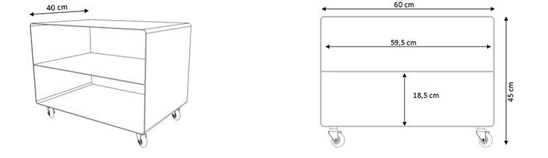 Meuble tv compact chariot avec tablette horizontale for Meuble tv dimension