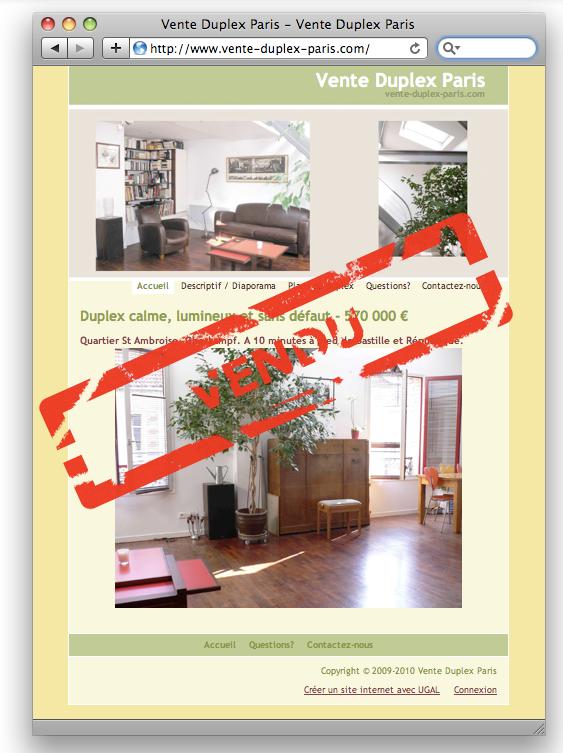 etude de cas vendre son appartement gr ce au web ugal. Black Bedroom Furniture Sets. Home Design Ideas