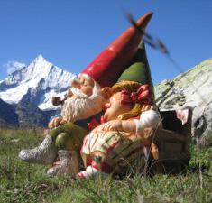 Nains de jardin en vances à la montagne