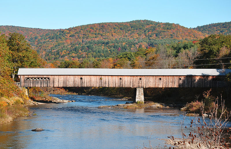 West Dummerston VT covered bridge in fall - credit: chensiyuan