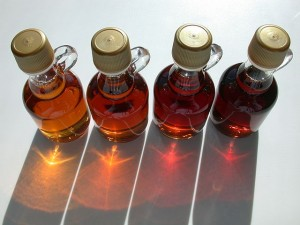 The four grades of maple syrup