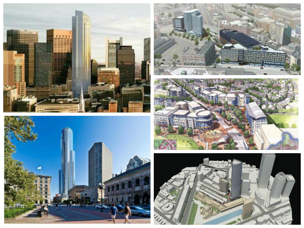 Clockwise from Left: Millennium Tower, Fenway Center, Barry's Corner, Christian Science Plaza, Copley Place
