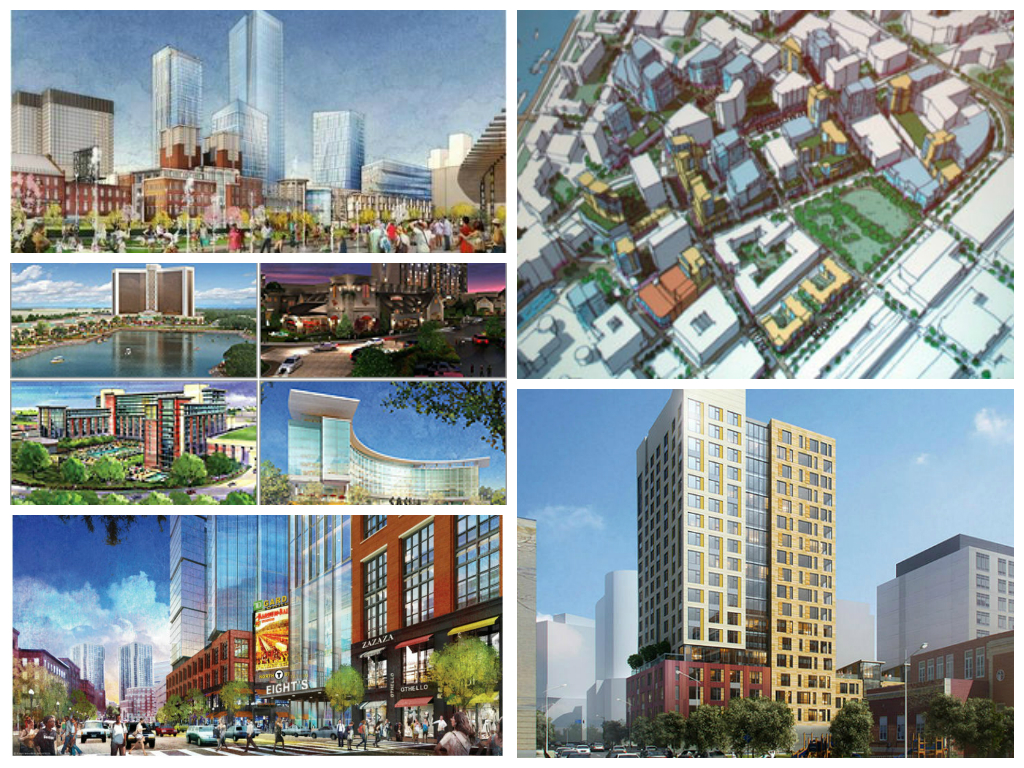 Clockwise from Left: Government Center, Kendall Square, 1350 Boylston, TD Garden, Four Bids for Casinos