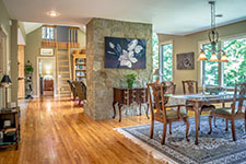 Open Floor Plan for Entertaining in contemporary Adirondack home in Bartlett, NH