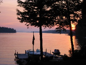 Sunset view of a New Hampshire Lake