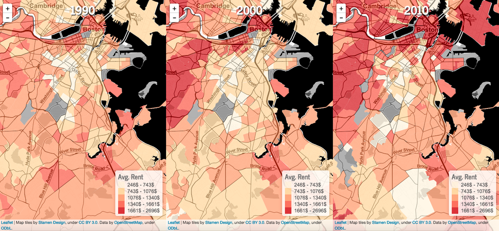 Maps of average Boston rent prices (1990, 2000, and 2010)
