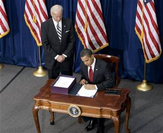 Obama signing the American Recovery & Reinvestment Act of 2009 2.17.09