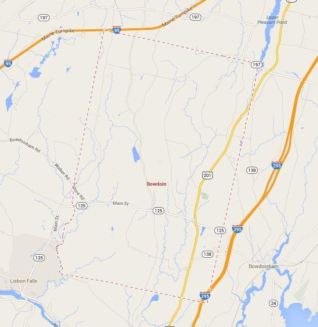 Bowdoin Maine Town Map