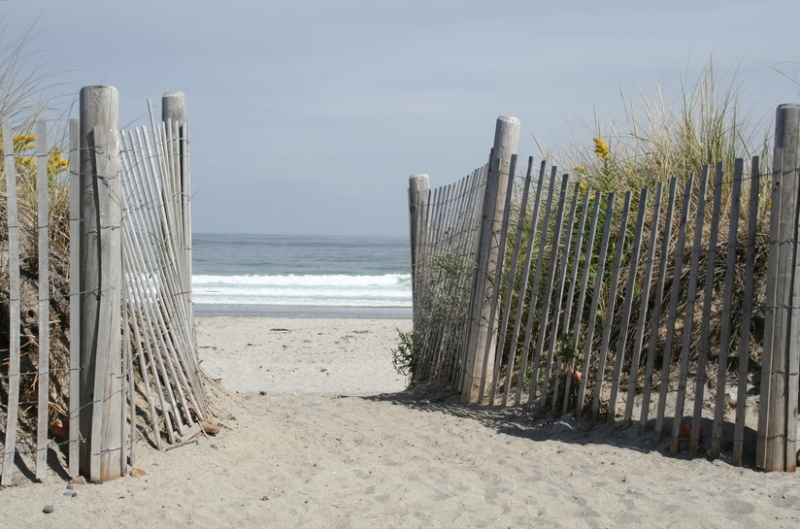Image of beach pathway to the ocean in Hull, MA