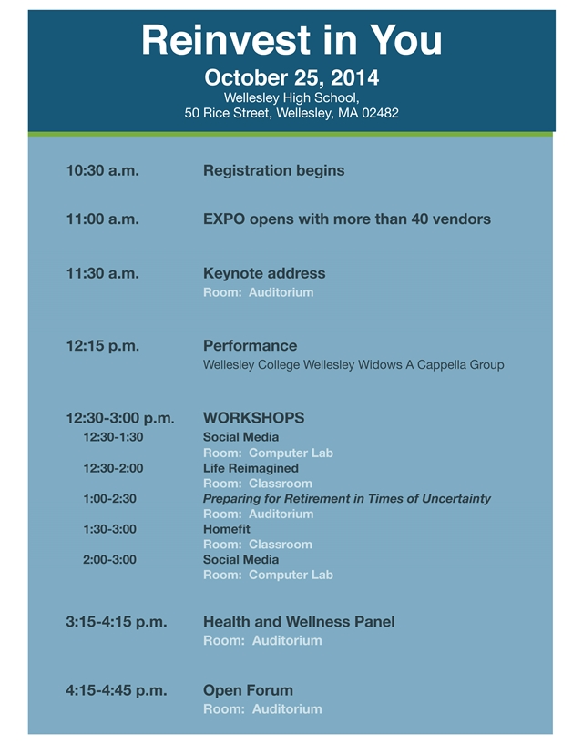 Reinvest in You Expo on successful aging October 25, 2014 at Wellesley High School