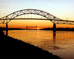 The Bourne Bridge over the Cape Cod Canal, wit...
