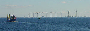 Offshore wind turbines near Copenhagen.