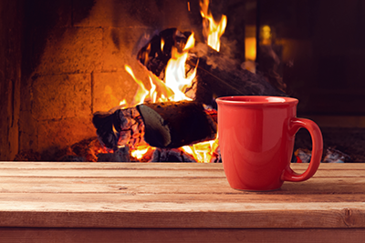 Fireplace and Mug