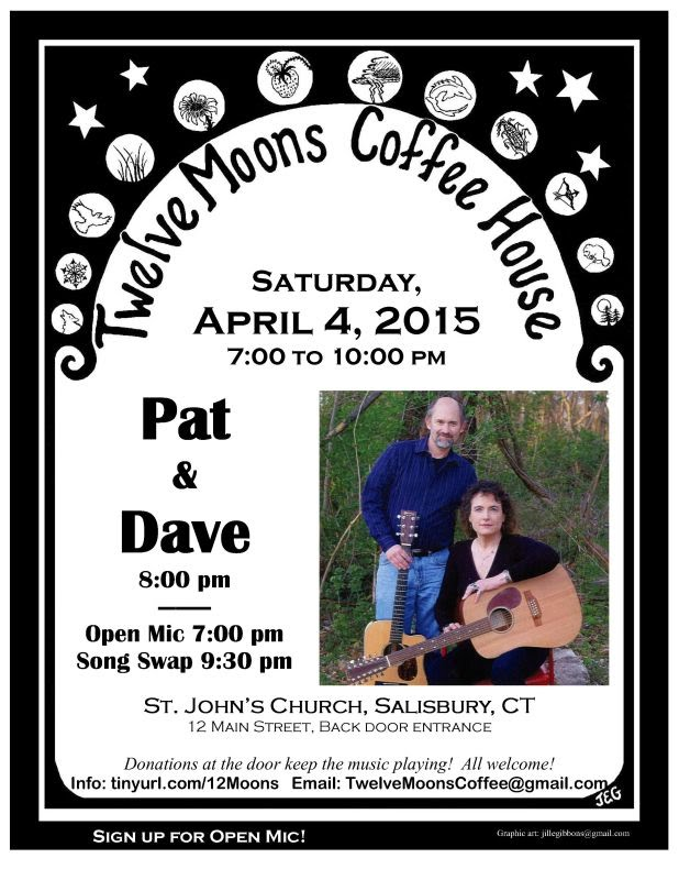 Pat and Dave at the Twelve Moons Coffee House in Salisbury CT