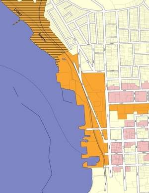 Burlington's waterfront  tax-increment district shown in orange.