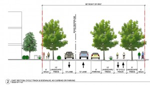 Proposed plan of landscaping and side walk improvements.