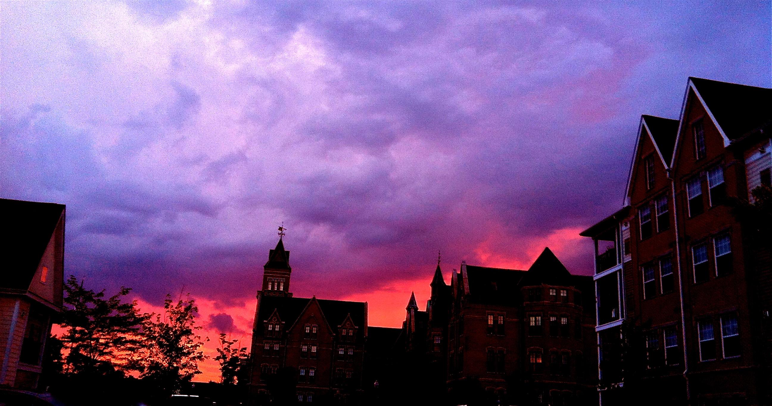 Danvers buildings against a vibrant sunset