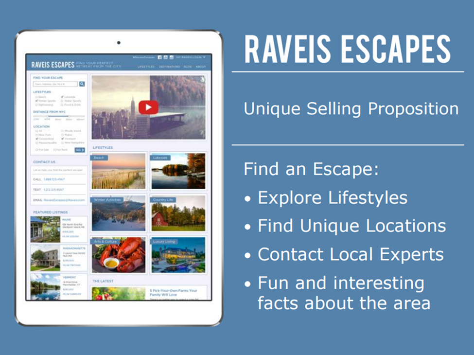 Raveis Escapes Unique Selling Proposition