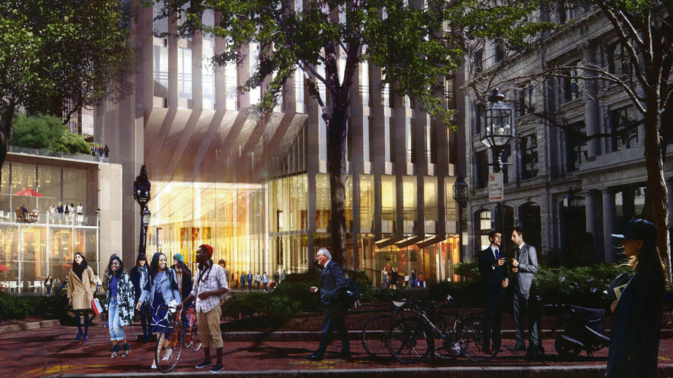 Developers have their eyes on the sky with proposals such as the Trans National Tower and suggest a new street-level look for what was the site of the Winthrop Square garage, pictured, as envisioned by Accordia Partners. - Handel Architects Rendering