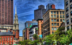 Beautiful Day in downtown Boston near the Old North Church and Boston Common.