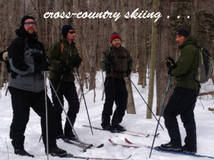 Tim cross-country skiing with friends. Four season recreation at his front door!