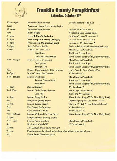 Pumpkin Fest Schedule