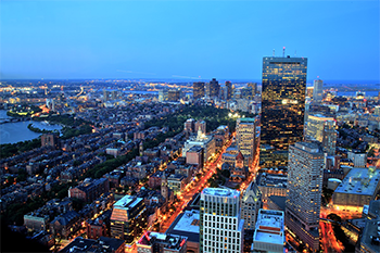 back bay boston at night