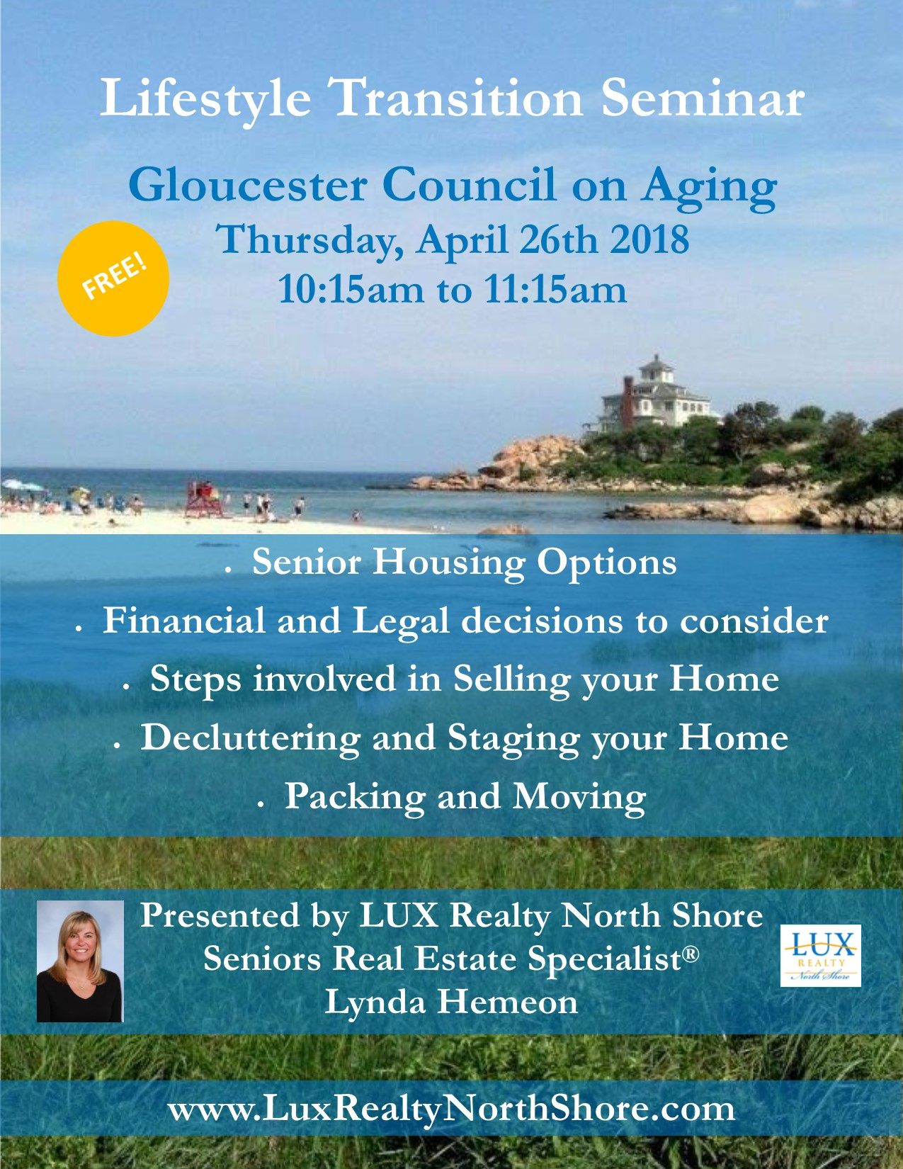 LUX Realty Lifestyle Transition Seminar Gloucester MA