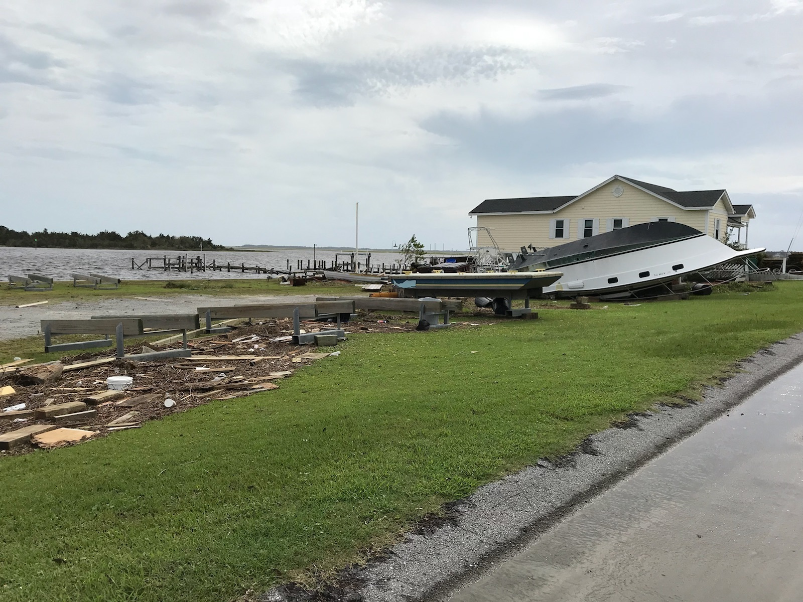 Sep 20, 2018 0 SWANSBORO, N.C. - A boat is beached on land due to the effects of Hurricane Florence in Swansboro, N.C. Sept. 17, 2018. Florence, with its heavy rain and strong winds of over 100 miles per hour, is the biggest storm to hit the Carolinas since Hurricane Floyd in 1999. Private meteorologists estimate the economic loss to be $10-$60 billion in damages. (U.S. Marine Corps photo by Pfc. Nello Miele)