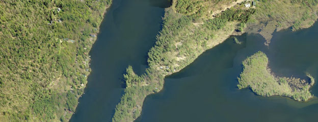 Maranacook Lake Maine aerial view
