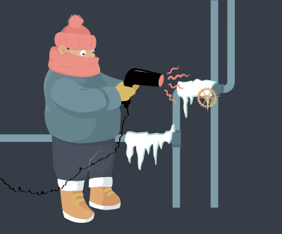 Man Defrosting Frozen Pipes