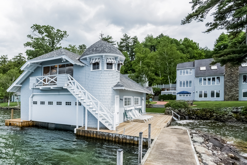 58 Eaglemere Road has one of only turreted 2 boathouses on Lake Winnipesaukee.