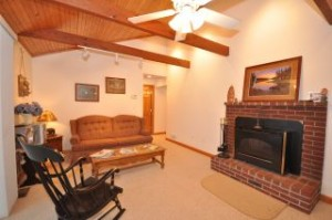 11 Fuhr Drive Living Room has sliders to lakeside deck, fireplace, and vaulted ceiling.