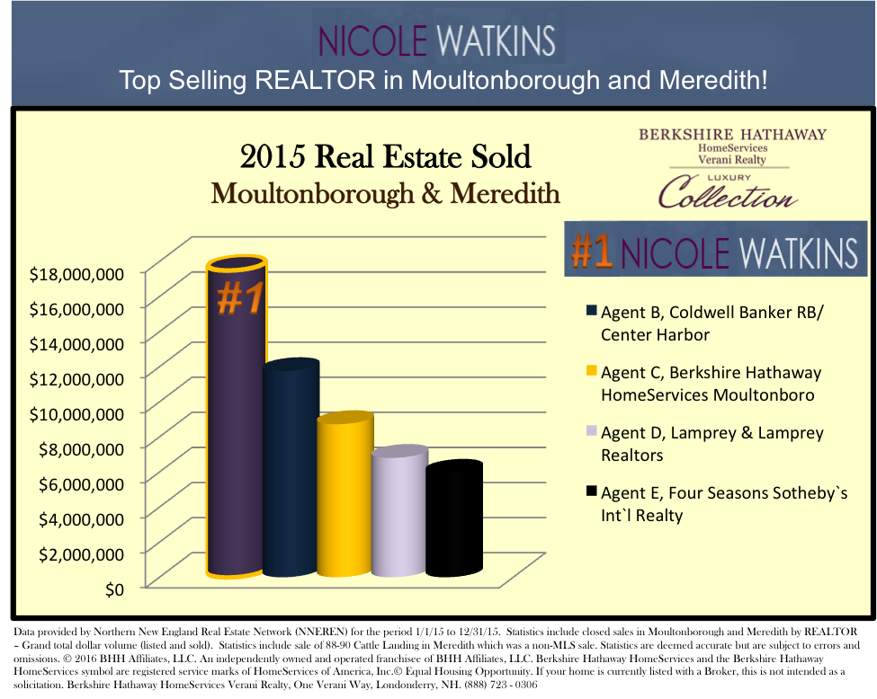 Nicole Watkins Top Selling Realtor in Meredith and Moultonborough NH 2015 Chart
