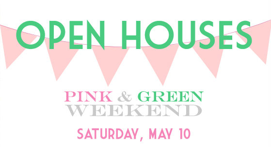 Pink and Green Open Houses banner