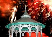 Oak Bluffs Fireworks over the gazebo in late August (photo by Peter Simon)