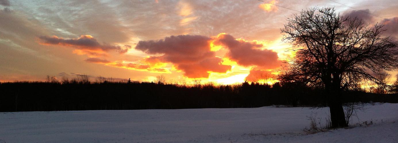 Winter Sunset Over the Hills of Landgrove, Vermont