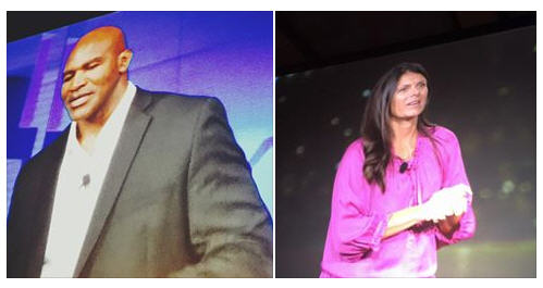 Inspiration!! Evander Holyfield and Mia Hamm speaking at the NAR Leadership Conference in Chicago.
